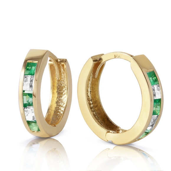 Galaxy Gold Products Jewelry - EARRING WITH NATURAL EMERALDS & WHITE TOPAZ